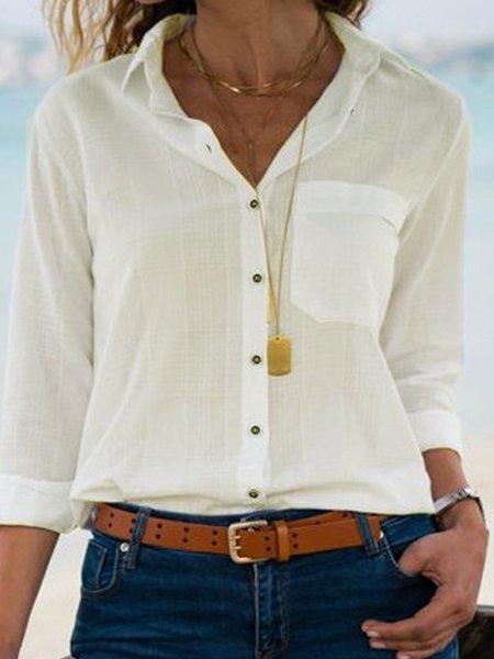 Pure Color Fresh & Clean Basic Elegant Shirts