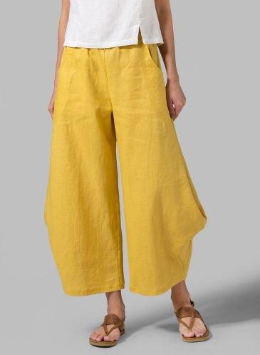 Plus Size Solid Linen Women Pants