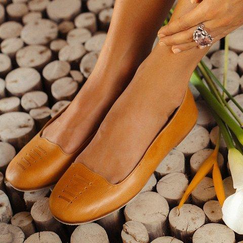 Solid Split LeatherFlats Flat Heel Flats