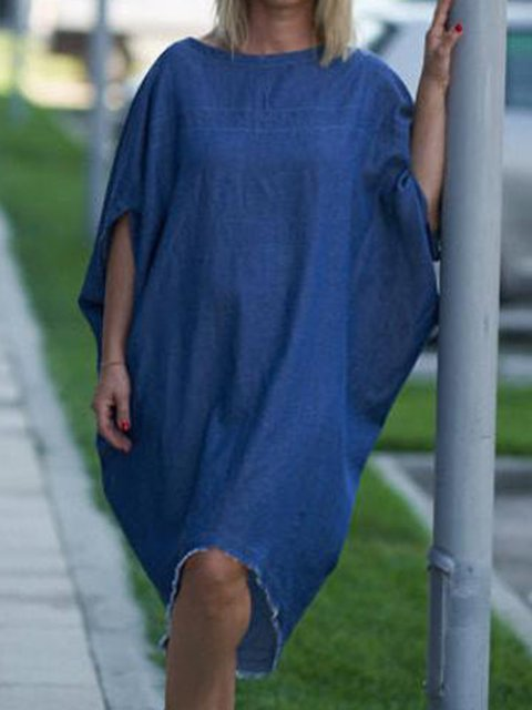 Batwing Round Neck Cocoon Solid Loose Dresses