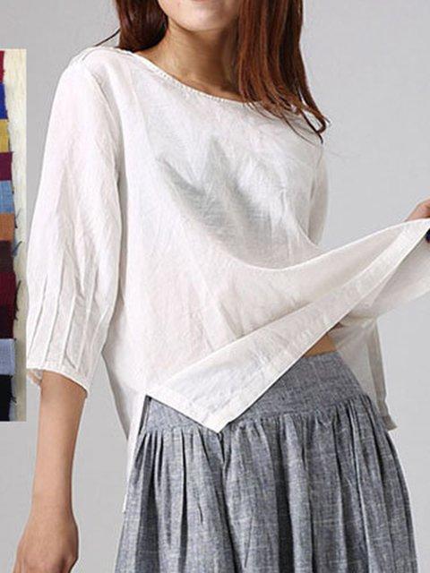 Slit Pleated Casual 3/4 Sleeve Plus Size Blouses