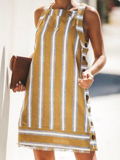 Women Striped Sleeveless  Casual Dress