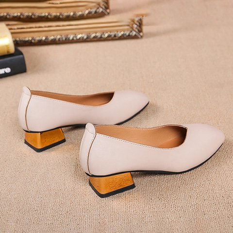Summer Square Toe Shoes Chunky Heel Flats