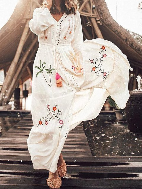 V Neck Women Dresses Going Out Casual Floral Dresses