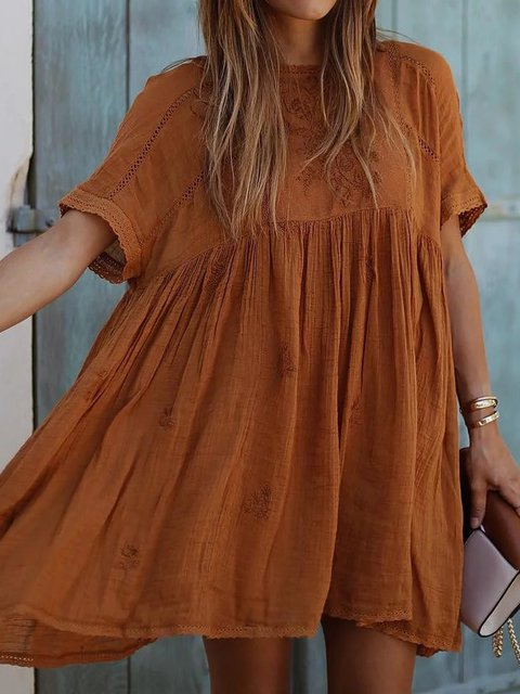 Crew Neck Women Dresses Going Out Casual Eyelet Dresses
