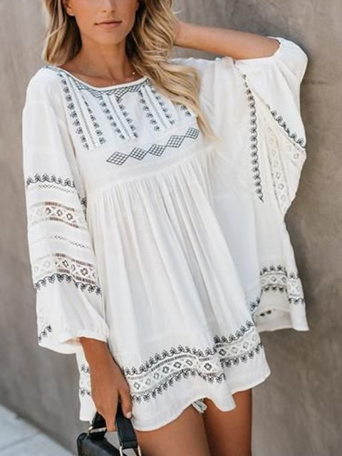 Boho Floral-Print Crew Neck Women Summer Dresses Holiday Guipure Lace Dresses