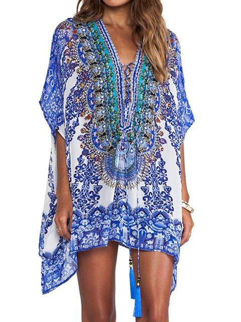 Boho Floral-Print V Neck Women Summer Dresses Beach Embroidered Floral Dresses