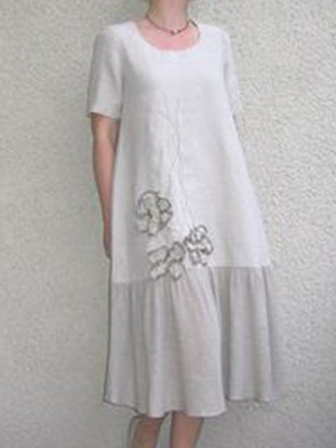 Cotton Linen Crew Neck Women Summer Dresses Daily Embroidered Dresses