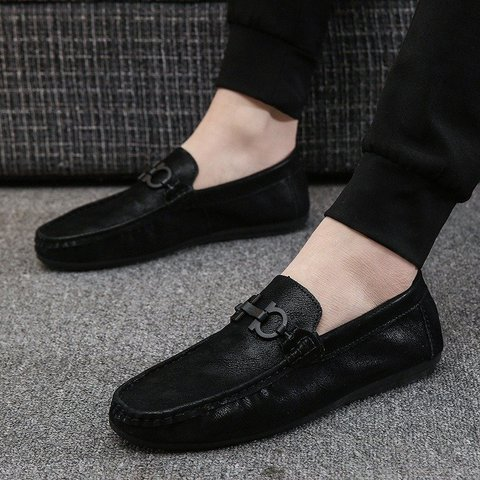 Men Flat Loafers Slip On Flats Pure Color Loafers Low Top Shoes