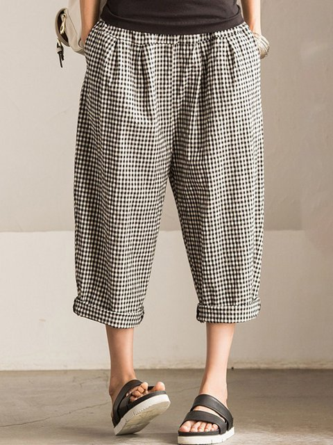 Gathered Plaid Casual Plus Size Pants