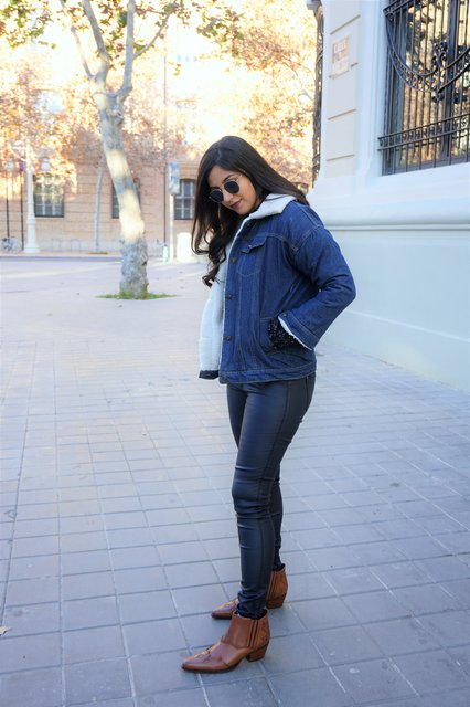 Blue Denim Plain Long Sleeve Lapel Coats