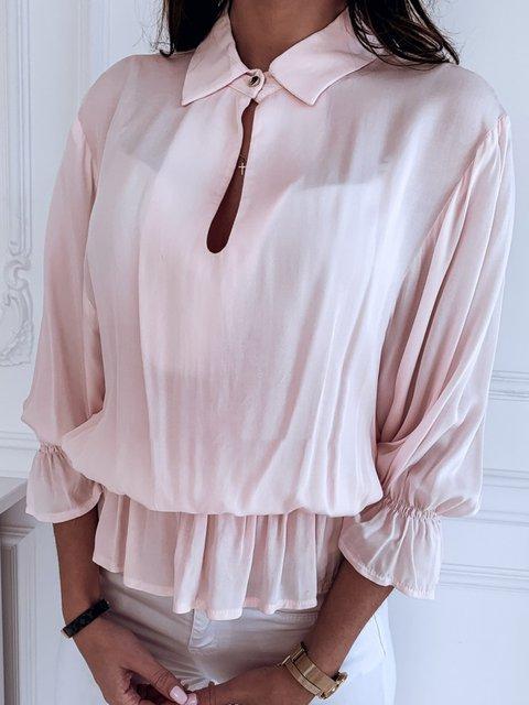 Ruffled Buttoned Elegant 3/4 Sleeve Plus SIze Blouses