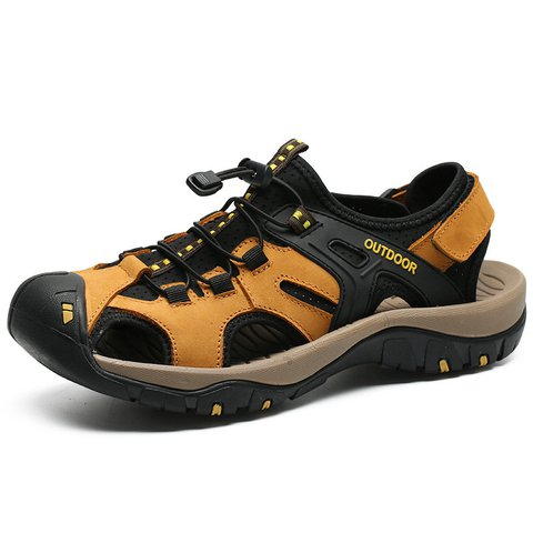 Comfy Leather Hiking SandalsSlip Resistant SandalsMen Outdoor Shoes