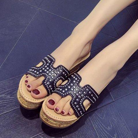 Womens Summer Pu Casual Wedge Heel Slippers