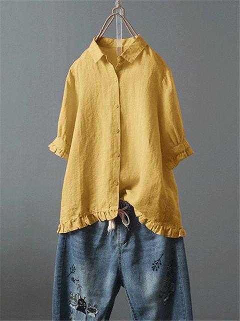 Women Casual Holiday Half Sleeve Cotton Shirts