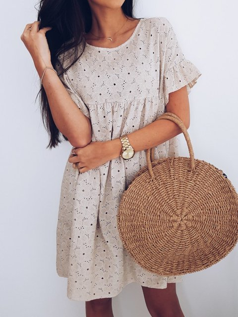 Ruffled Cutout Round Neck Shift Party Sweet Dresses