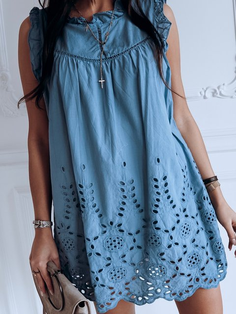 Ruffled Cutout Sleeveless Shift Party Casual Solid Dresses