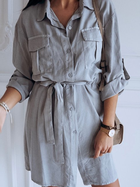 Pockets Buttoned Shift Daily Plus SIze Shirt Dresses