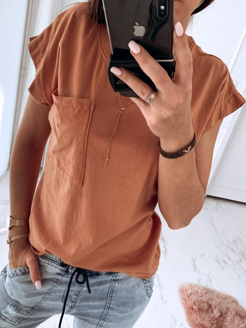 Pockets Scoop Neckline Solid Simple Summer T-Shirts