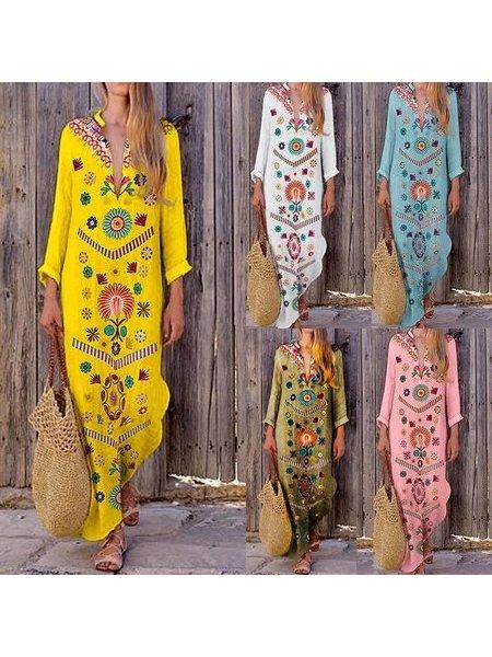 Long Sleeve V Neck Dresses