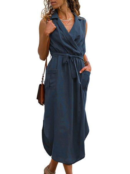 V Neck Summer Shift Daily Paneled Pockets Solid Shift Dresses