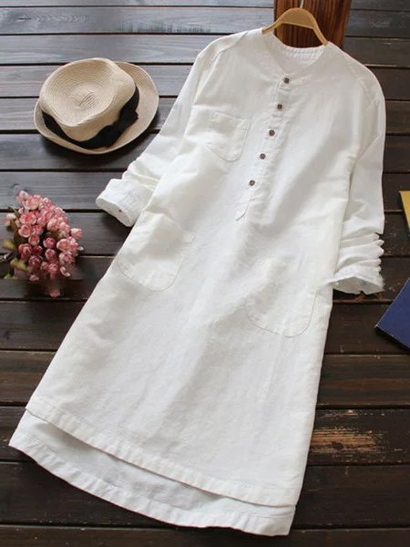 Shift Women Daytime Linen Long Sleeve Casual Buttoned Casual Dress