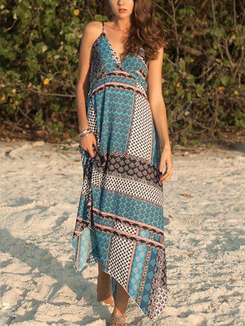 Women Boho Chiffon Maxi Dress Spaghetti-Strap Holiday Dresses