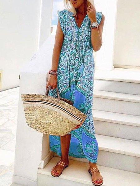 V Neck Yellow Women Summer Dresses Beach Floral Dresses