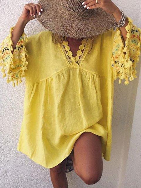 Cutout Cotton-Blend Bell Sleeve Patchwork Shirts & Tops