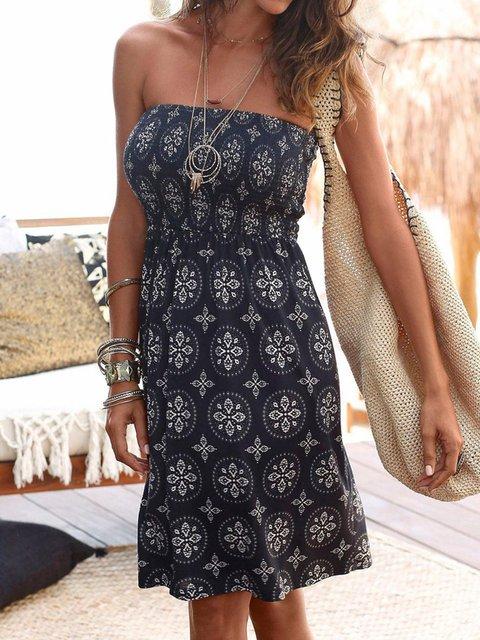 Off Shoulder Women Dresses Shift Beach Printed Geometric Dresses