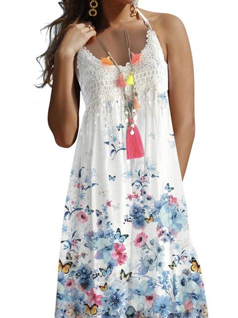 V Neck Women Dresses A-Line Floral Dresses