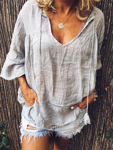 V Neck Short Sleeve Solid Shirts & Tops