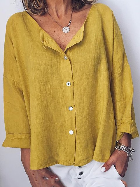Women Solid Buttoned Casual Crew Neck Cotton Blouses