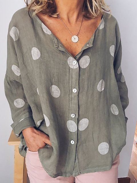 Women Summer Polka Dots Long Sleeve Shirts