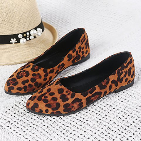 Women Leopard Flats Casual Slip On Shoes