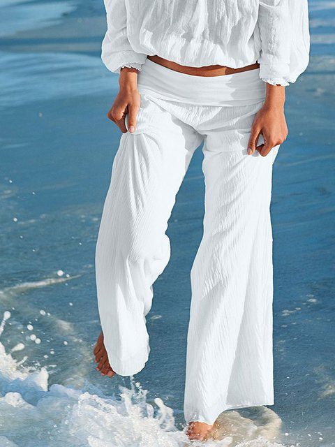 White Cotton Boho Plain Beach Pants