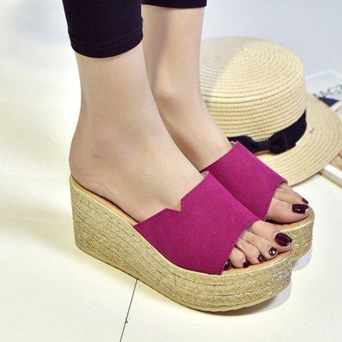 Women Casual Wedge Peep Toe Slide Sandals Shoes