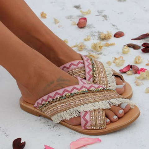 Women Boho Peep Toe Rhinestone Slip-On Flat Crossed Sandals