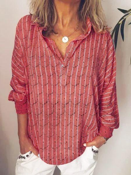 Striped Casual Blouse & Shirts
