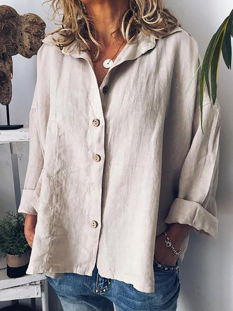 Plus Size Plain Shirt Collar Buttoned Long Sleeve Blouses