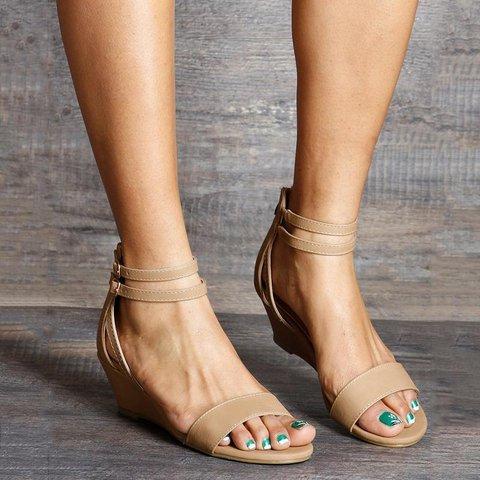 Women Double Buckle Wedge Zipper Elegant Peep Toe Heel Off  Sandals
