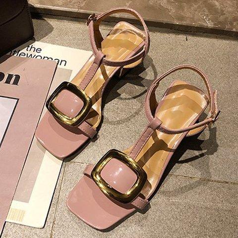 Adjustable Buckle Chunky Heel Sandals