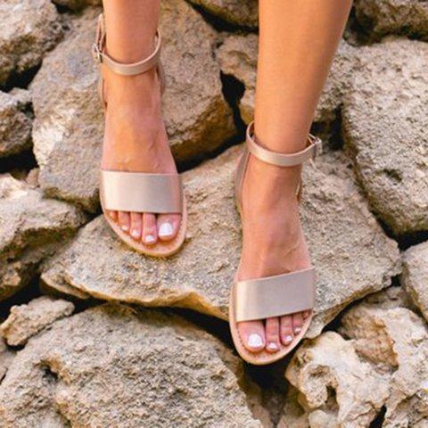 Women's Casual Flat Buckle Strap Open Toe Sandals