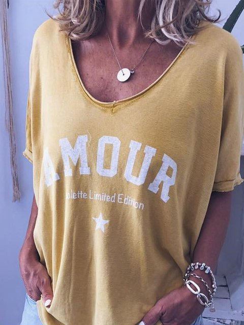Women Plus Size Printed Letter Short Sleeve Outdoor Letter T-Shirts