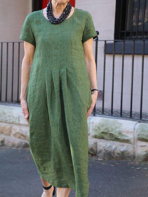Women Shift Daytime Pockets Solid Dresses