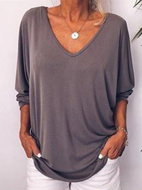 Long Sleeve Casual Linen V Neck Blouses