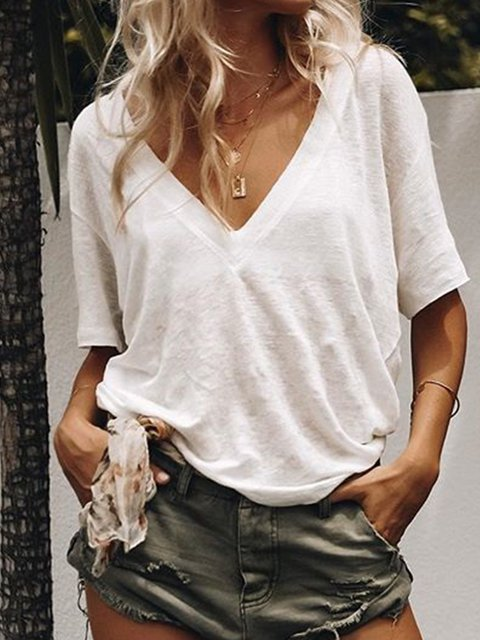 Plain Cotton-Blend Short Sleeve Casula Loose Blouses