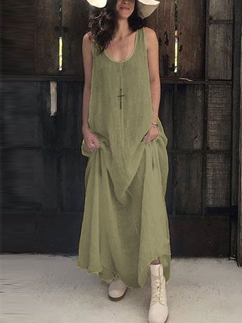 Summer Plus Size Sleeveless U-Neck Linen Maxi Dresses