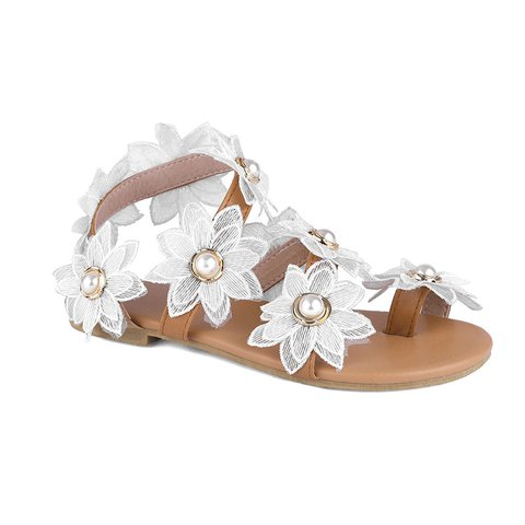 White Low Heel Artificial Pu Summer Flower Sandals