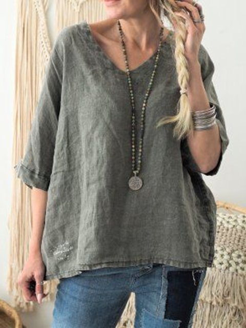 Linen Cotton Solid V Neck Casual Shirts & Blouses